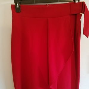 Worthington Red Faux Wrap pencil Skirt